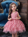 It's YiiYa Flower Girl Dresses For Girls V-neck Elegant Kids Party Gowns Appliques Bow Short Wedding Communion Dress 190