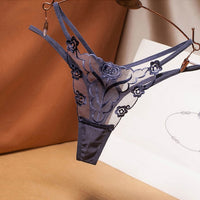 Double Strap Embroidered Transparent G-String