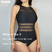 One Piece Sheer Backless Swimsuit