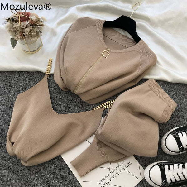 mozuleva  Women 2020 Autumn Winter Knitted  Vest Zipper Cardigans Pants 3pcs Sets Tracksuits Outfits