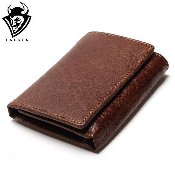Men's RFID Anti-theft Genuine Leather Tri-fold Wallet