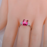 CAIMAO 14K Gold 3.21ct Emerald Cut Pink Topaz With 0.28ct White Sapphire Engagement Ring for Women