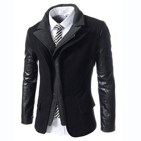 Men's Slim Fit Solid Wool Overcoat