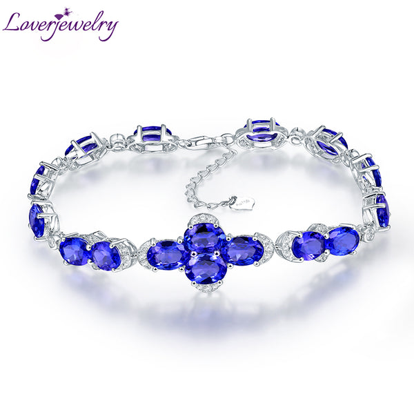 LOVERJEWELRY Bat Shape Solid 18K White Gold Oval Cut Natural Blue Sapphire Bracelet For Women