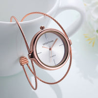 Unique Quartz Rose Gold Bracelet Watch