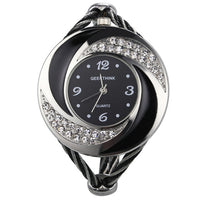 Rhinestone Whirlwind Design Metal Weave Clock Bracelet Watch