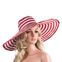 Women's Wide Brim Polyester Striped Kentucky Derby Floppy Hat
