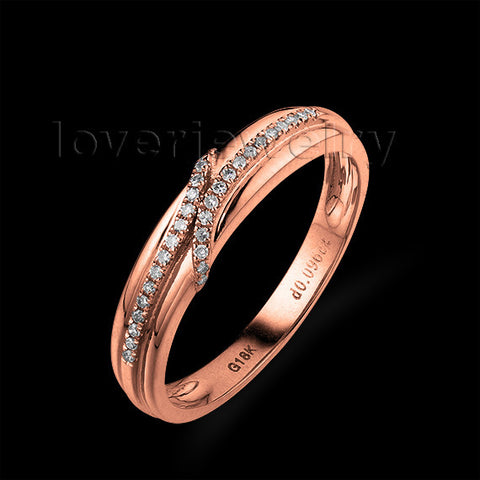 LOVERJEWELRY Solid 18Kt Rose Gold Diamond Wedding Band/Ring for Women