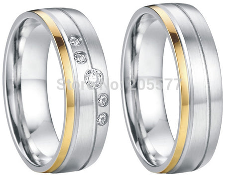 Two-Tone Titanium Cubic Zirconia Wedding Band Set