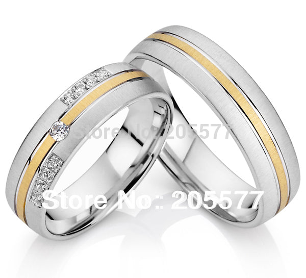 European Style Titanium Cubic Zircon Wedding Rings