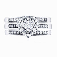 Pear Cut 10kt White Gold Cubic Zircon Wedding Ring Set