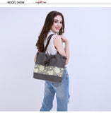 Large Flower Print Canvas Shoulder Bag