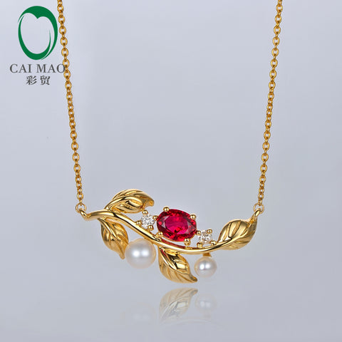 Caimao Women's 14kt Yellow Gold 0.51ct Ruby, Pearl, and Diamond Pendant