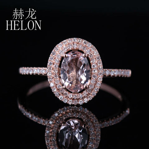 HELON Women's Oval 0.62ct Morganite 0.25ct Diamond Two Halo 14K Rose Gold Engagement Ring