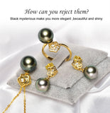 Women's 18K Gold Rose Designed Tahitian/South Sea Pearl Earring and Necklace Set