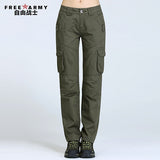 Freearmy Brand Women's Multi Pocket Army Green Military Style Pants