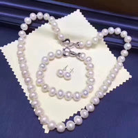 Sinya Freshwater Pearl Strand Necklace, Bracelet, Earring Set with Sterling Silver Clasp for Women