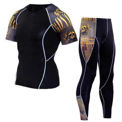 Men's Compression Short-Sleeve 3D Print Shirt & Leggings Set
