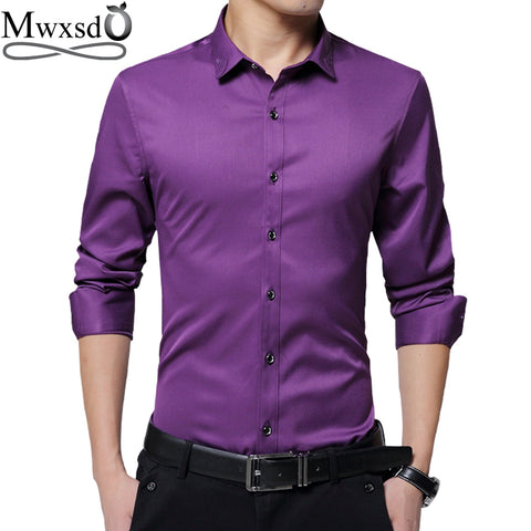 Men's Slim Fit Long-Sleeve Silk Shirt