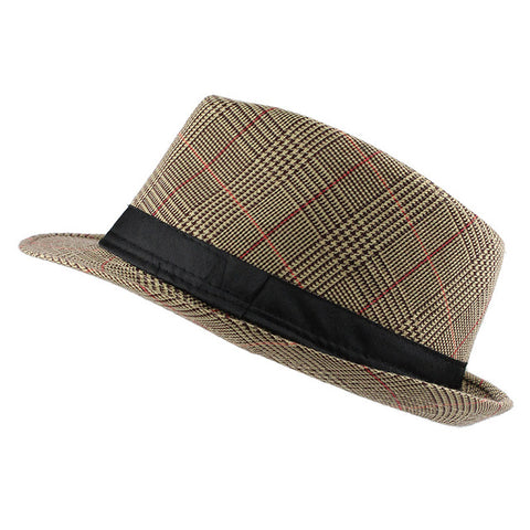 FLB Men's Plaid Fedora Hat