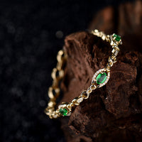 LOVERJEWELRY White Diamond & Oval 4x6mm Emerald 18K Yellow Gold Women's Bracelet