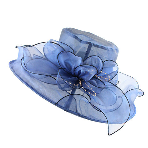 Women's See-Through Brim Large Flower Bow Church Hat
