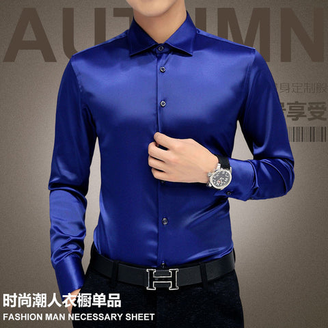 Men's Long-Sleeve Silk Dress Shirt