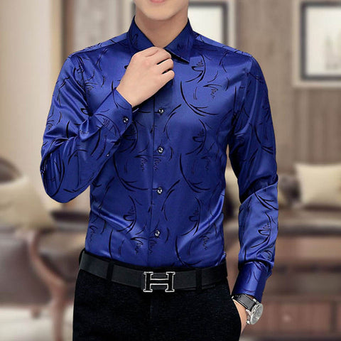 Men's Designer Print Long-Sleeve Silk Shirt