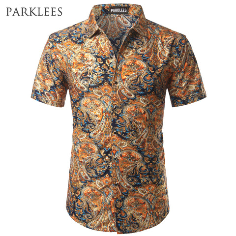 Paisley Silk Men's Casual Slim Fit Golden Foil Floral Print Shirt