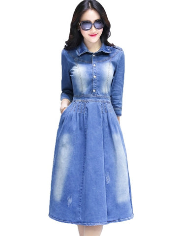 Denim Lapel Pockets Women's Day Dress