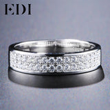 EDI 0.32ct Round Cut H/SI Natural Diamond 14k White Gold Band For Men