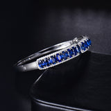 LANMI 18K White Gold Natural Blue Sapphire Bangle Women's Bracelet
