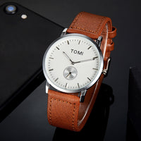 TOMI Fashion Casual Men 'sssines Retro Design Leather Round Band Watch