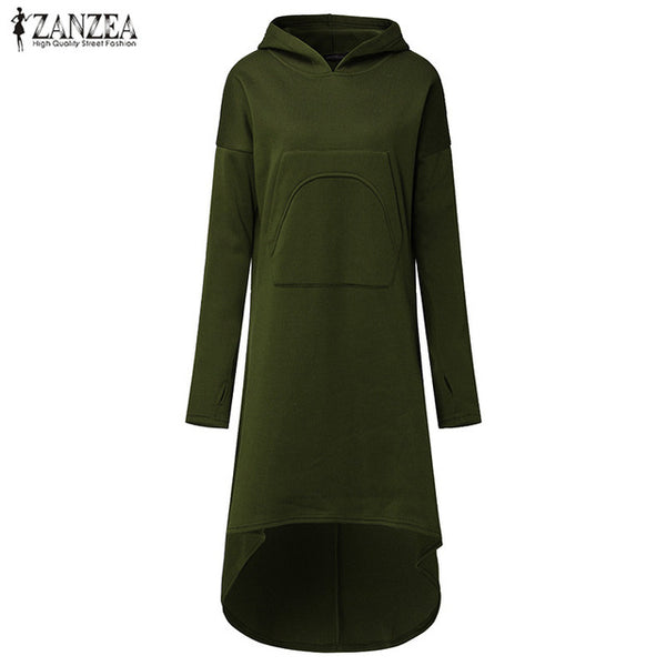 Hooded Long Sleeve Fleece Irregular Hem Hoodie Dress