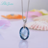 I&zuan 925 Silver Oval Shape Natural Blue Topaz Pendant Necklace For Women