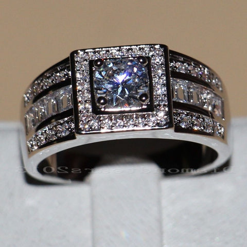 White G Cubic Zircon Ring
