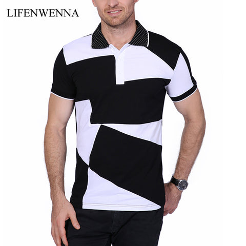 Lifenwenna Brand Men's Black & White Short-Sleeve Polo Shirt