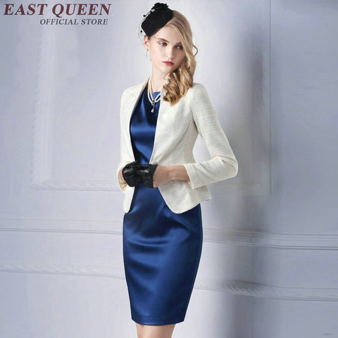 Women's Elegant Knee-Length Dress & Blazer Suit