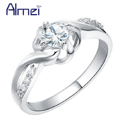 Cubic Zircon Silver Engagement Ring