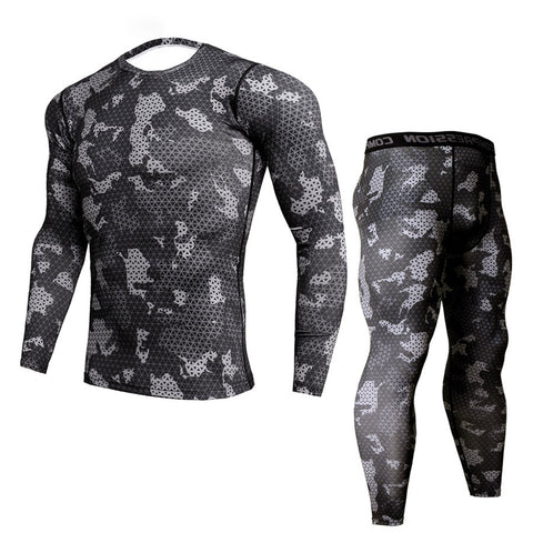 Men's Long-Sleeve Camouflage Print Compression Shirt & Leggings Set