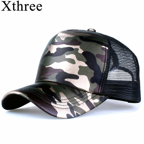 Five Panel Camouflage Pattern Faux Leather and Mesh Baseball Cap
