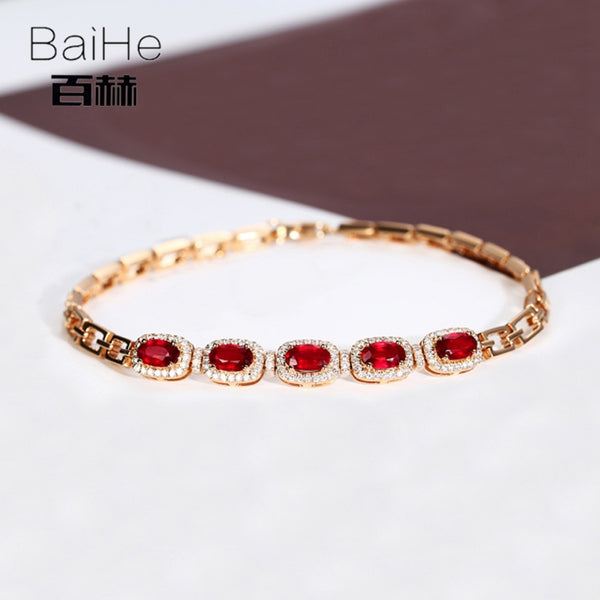 BAIHE Solid 14K Rose Gold 1.7ct Oval Cut Genuine Natural Ruby Women's Bracelet