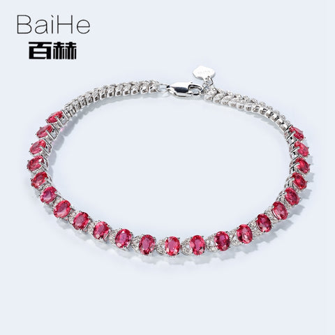 BAIHE Solid 14K Gold 5.2CT Natural Ruby Women's Anniversary Bracelet