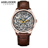 AGELOCER Men's Automatic Mechanical Skeleton Face Wristwatch