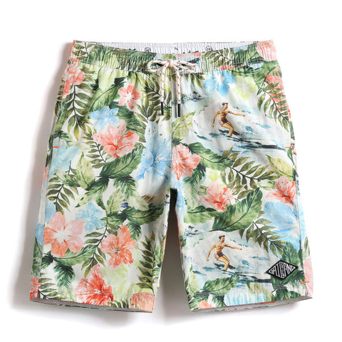 Men's Floral Print Quick Drying Swimwear