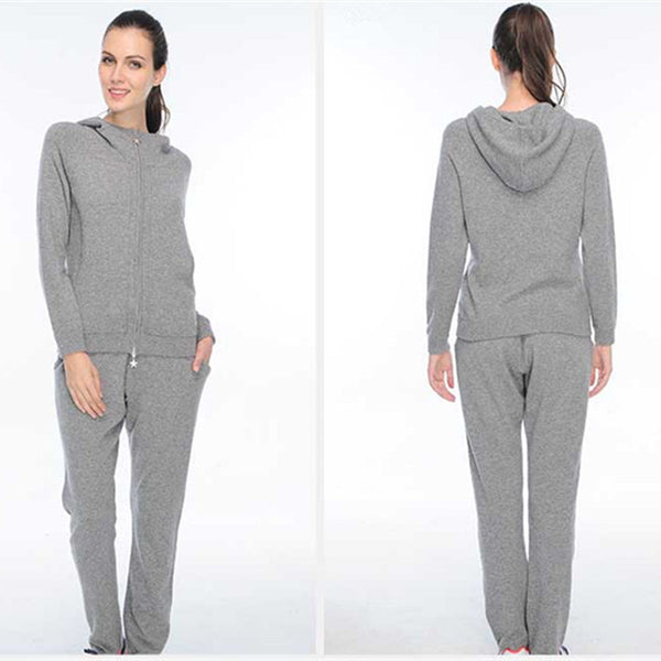 Women's Gray Thick Cashmere Hoodie Sweatshirt & Pants Sweatsuit Set
