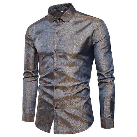 Men's Smooth Long-Sleeve Shiny Exotic Print Shirt