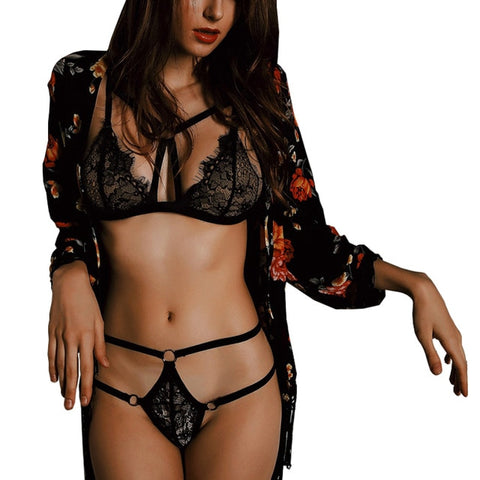 Lace Push Up Bra and G-String Panties Set