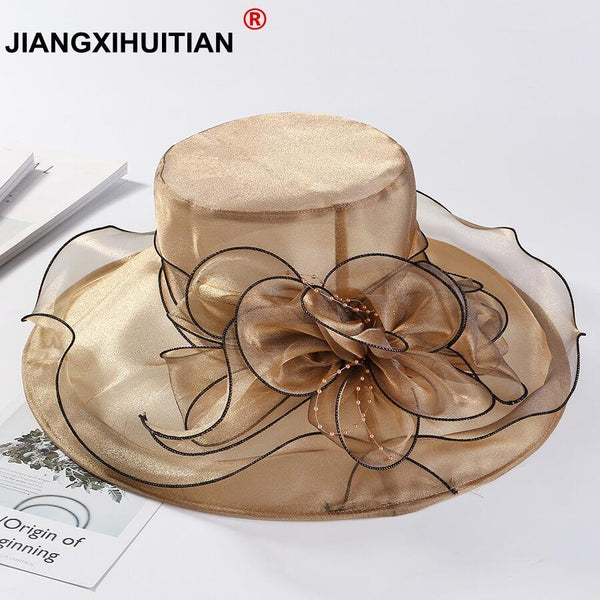 Organza Wide Brim Sun Church Hat