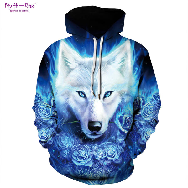 Blue Rose Wolf 3D Print Hoodies